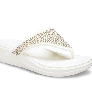 Stylish White Crocs Size 7